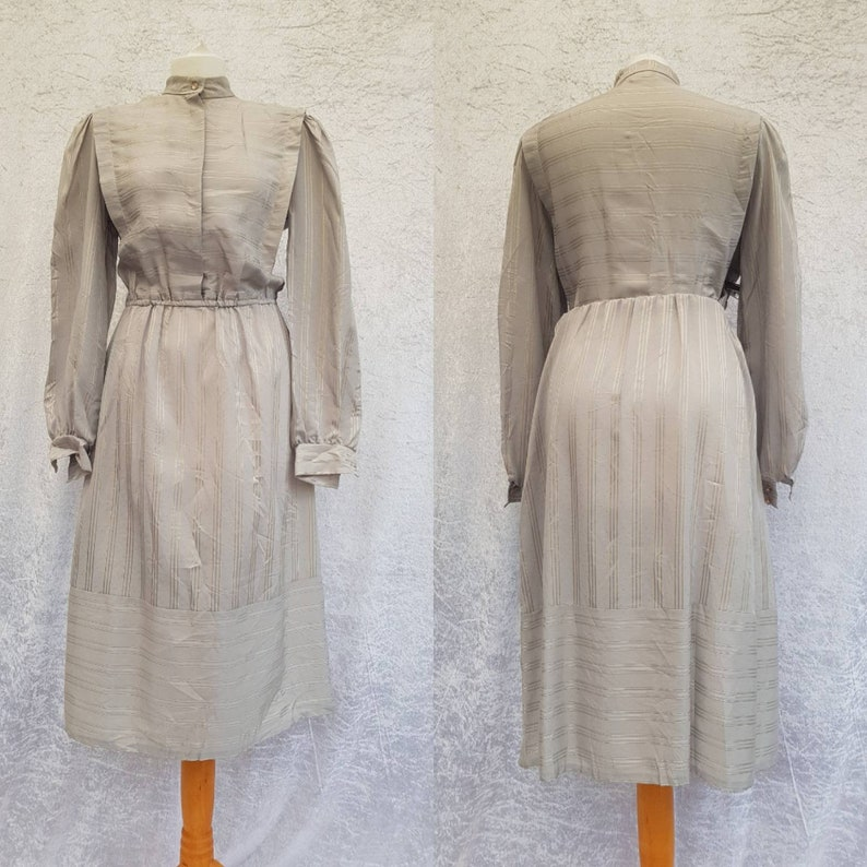 Vintage Cheekaberry Taupe Grey and Gold Striped Embroidered image 0