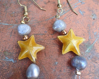 Freshwater Pearl Yellow Cloisonné Lucky stars, Starfish Sealife Seashell Dangle Drop Pierced Earrings