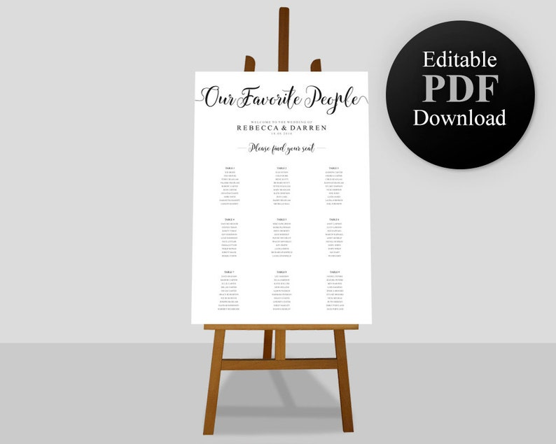 Seating Chart Template Wedding Christening Birthday Party Bar Mitzvah Corporate Events