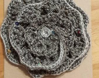 Hand made large crochet grey flower brooch