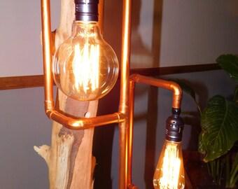 Rustic Lamp, wooden trunk, Cooper Path, Edison Bulb.