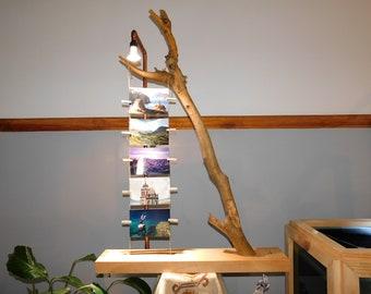 Rustic Lamp, wooden trunk, cooper path, photo frame, GU10 Bulb.