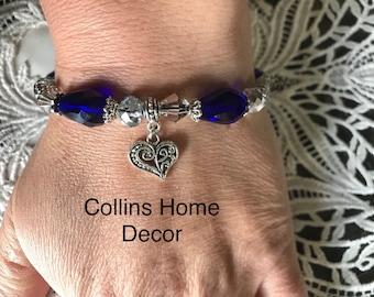 Crystal Beaded Bracelet, Wedding Bracelet, Gift For Her, Crystal Bracelet, Wedding Jewelry, Birthday Gift, Charm Bracelet, Wedding Charm