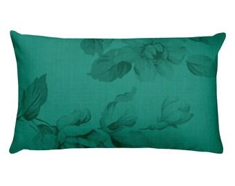 Teal Floral Rectangular Pillow