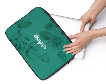 Personalized Teal Floral Laptop Sleeve