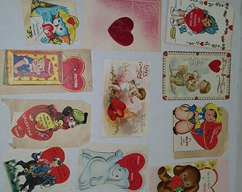15 Antique Mid-Century Childrens Valentines Day Singed Greeting Cards with Envelopes Germany