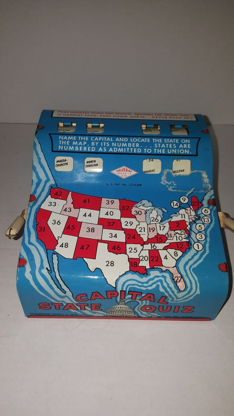 Vintage Wolverine State Capital Quiz Tin Learning Game Machine