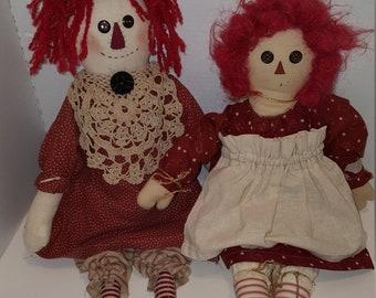 Pair of VIntage Raggedy Ann Rag Dolls