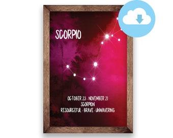 Scorpio Zodiac Star Constellations Watercolor Digital Art Print Pack
