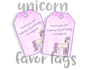 Unicorn Party Favor Tags, Happy Birthday, Magical Floral Unicorn Glitter Decoration, INSTANT DIGITAL DOWNLOAD