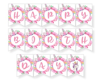 Unicorn Happy Birthday Banner, Magical Floral Unicorn Glitter Party Sign Decoration, INSTANT DIGITAL DOWNLOAD