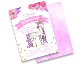 Custom Unicorn Happy Birthday Invitation, and Thank You Card, Magical Floral Unicorn Glitter Party, INSTANT DIGITAL DOWNLOAD