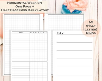 Weekly + Week on Four Pages Planner Insert - A5 (Half-Letter) Size