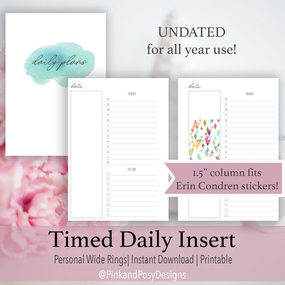 RINGS Untimed Daily Daily To Do Inserts Day On One Page Personal Size Personal Wide Timed Daily Hourly Daily