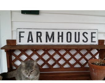 FARMHOUSE Painted Wood Sign