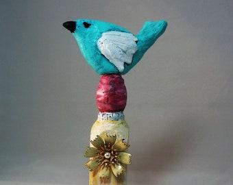 Bird Folk Art Object, Assemblage, Sculpture, Vintage Flower, Mixed Media