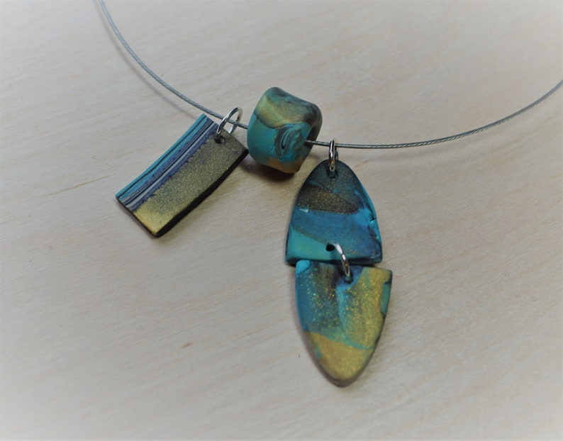 Pendants Gold Choker Neck Wire Turquoise Stainless Steel Polymer Mod Pendants
