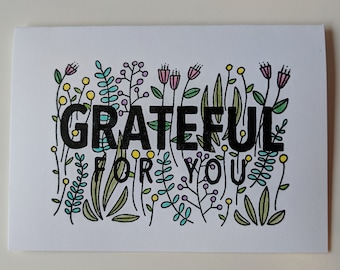 Grateful for You, White Floral, Handmade Cards