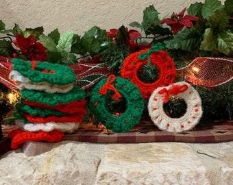 Beaded Ornaments Christmas Wreath Candy Cane Tree Vanna Crochet Pattern NEW