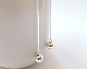 22d7aba39 Valentines day gift for her, Silver ball drop earrings, drop earrings, chain  earrings, drop ear thread, sterling silver threader