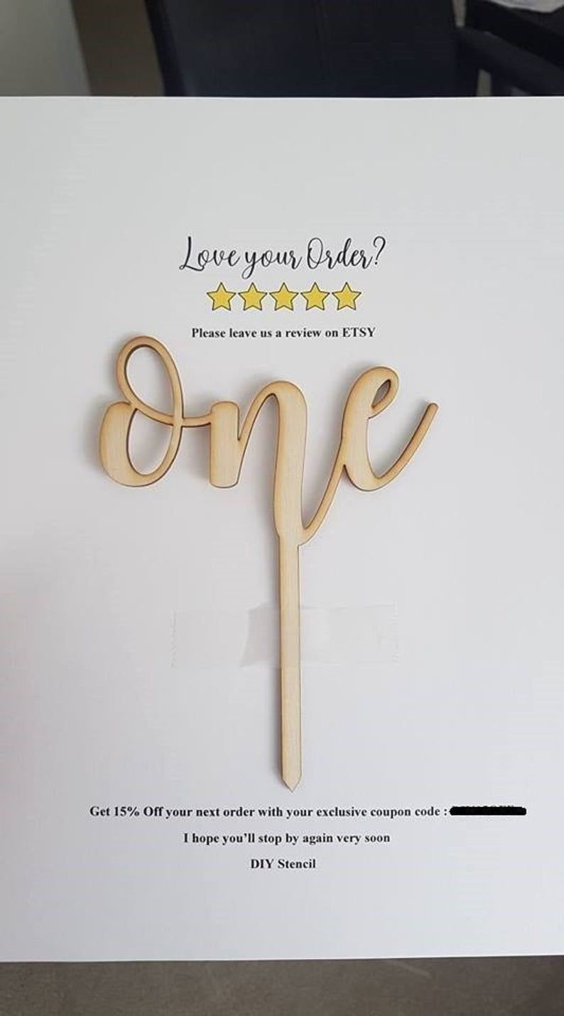 First Birthday Cake Topper wooden  one cake topper  image 0