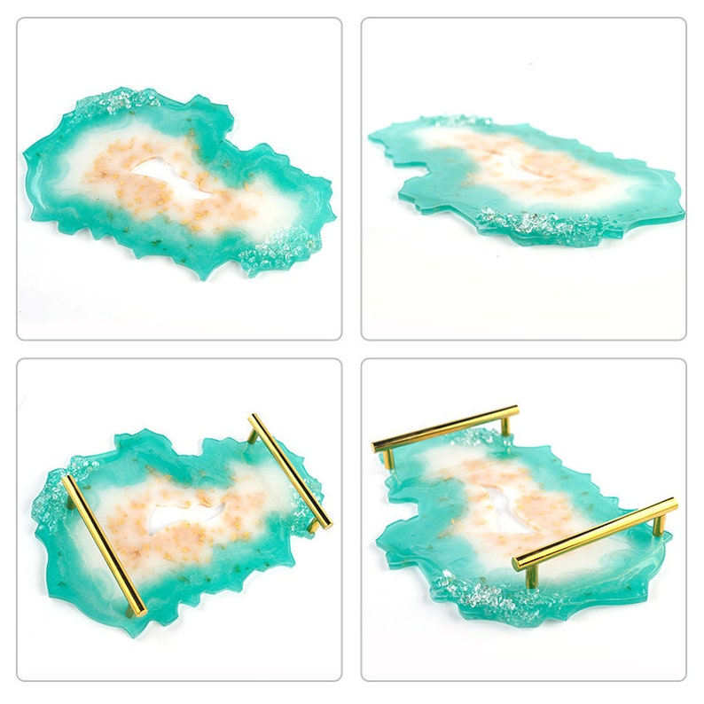 Agate Tray Mold Resin Epoxy LARGE Shiny Serving Tray Plate Silicone Mold