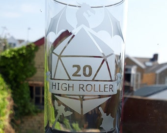 Dungeons and Dragons inspired rpg, board game etched glass. High Roller.