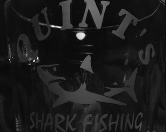 Jaws inspired 'Quints Shark Fishing' etched glass