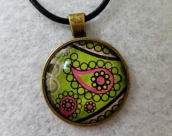 Colorful Paisley Pendant