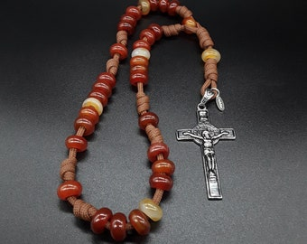 The Carnelian 550 Anglican Paracord Rosary made of high quality Carnelian gemstones and the Holy Sigil Stainless Silver Cross.