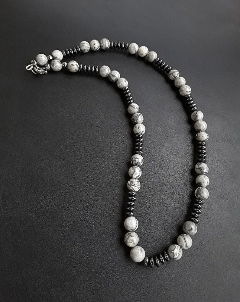 necklace and bracelet Limited Edition OPHION\u2013 Complete set Hematite and Silver of 8mm high quality beads of Jasper