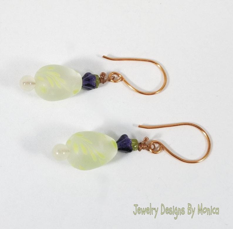 Artisan Earrings Handmade Jewelry Egg Earrings Peridot Egg Earrings Easter Egg Earrings by JDByMonica OOAK Gift for Her Boho Chic