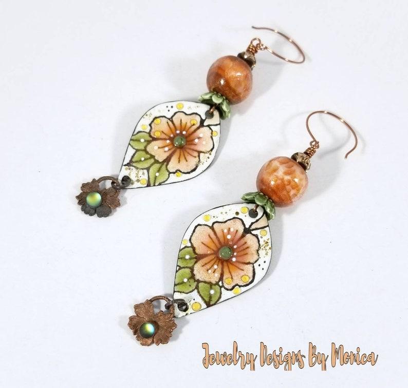 Floral Copper Enamels Handmade Jewelry Enamel Glass Copper Lampwork Earrings Drop and Dangle,Boho Hipster Chic,OOAK Artisan,by JDByMonica