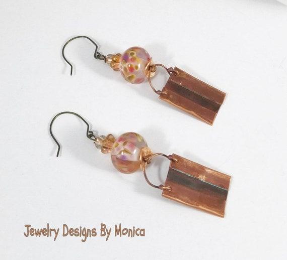 by JDByMonica gift for her Heart Earrings handmade jewelry Heart Lampwork Earrings Pink Heart Lampwork Earrings ooak artisan earrings
