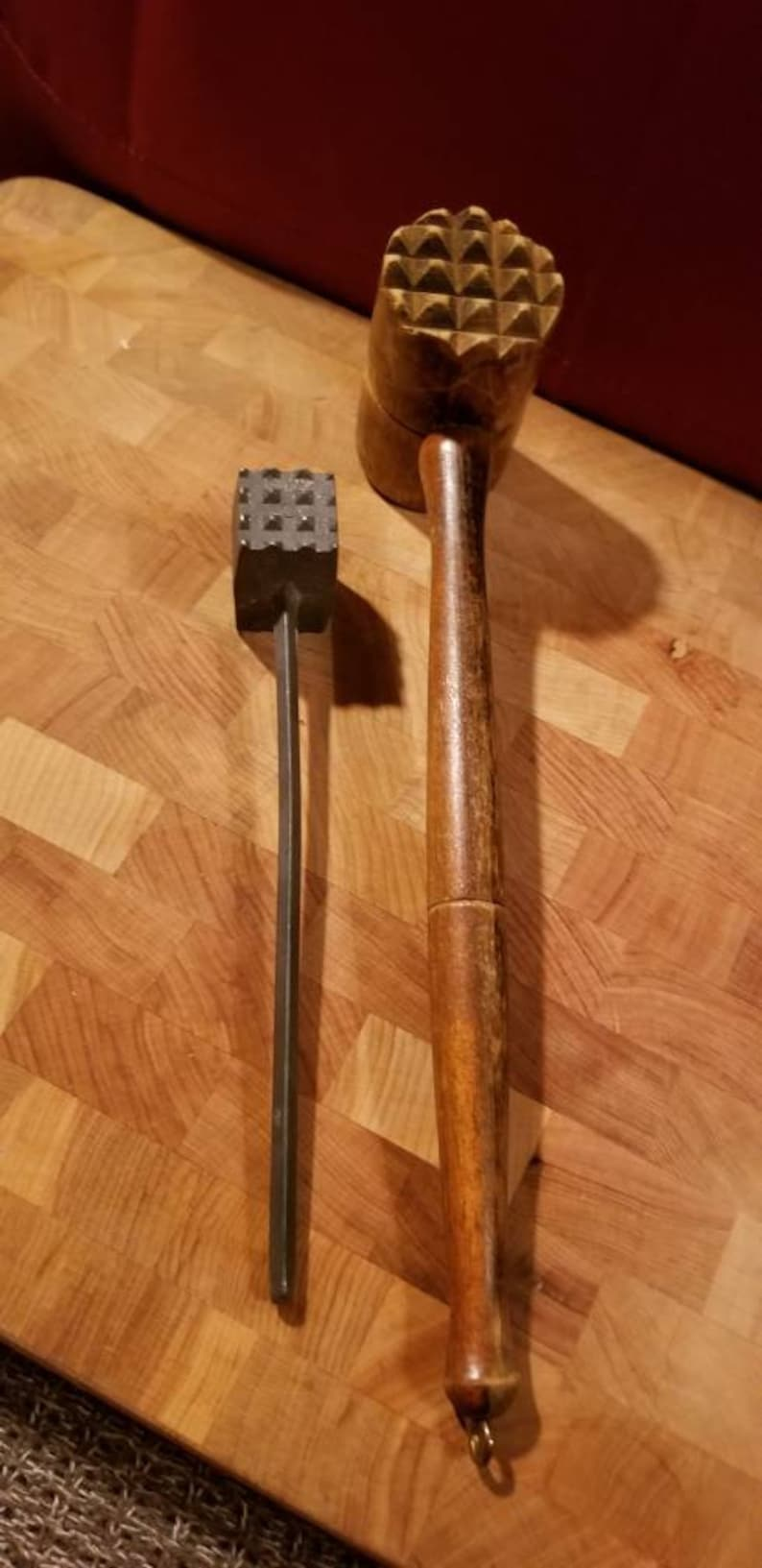 Vintage Wooden Meat Mallet And Small Metal Mallet Primitive Meat Mallet