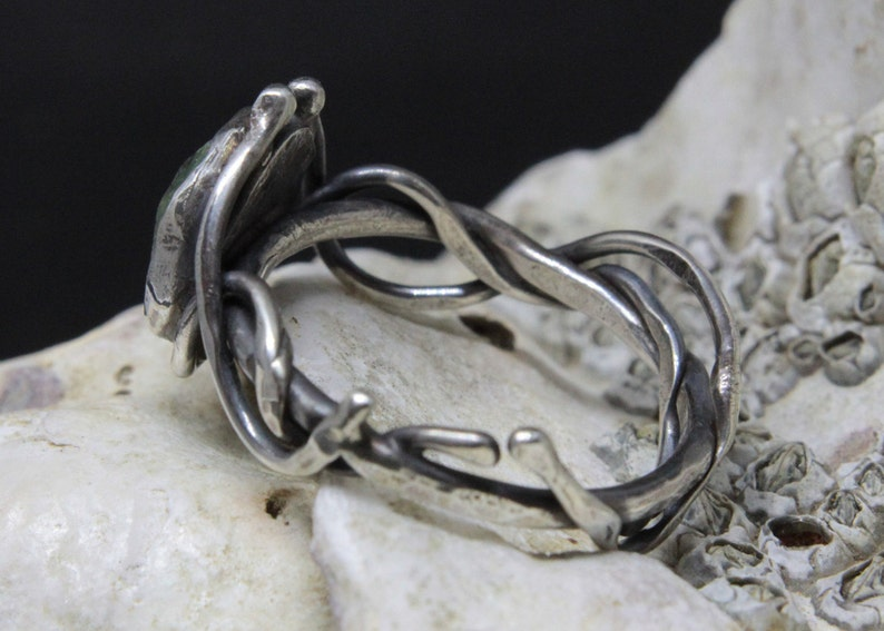 Fuschite with Ruby Sea vine ring seaweed inspired sterling silver ring perfect gift for her sea inspired jewellery handmade ring