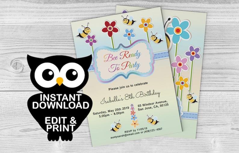 Honey Bee Spring Birthday Invitation Instant Download Gender Etsy