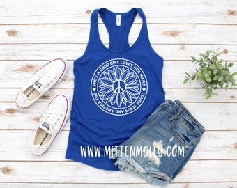 2b88e9e72 She's A Good Girl Loves Her Mama Loves Jesus and America Too Racerback  Tank, Women's 4th of July Tank, Patriotic, Merica, Tom Petty, Summer