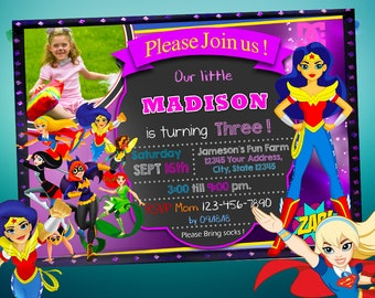 DC Superhero Girls Birthday Invitation Party Wonder Woman Digital Printable Invite Backside Art Included