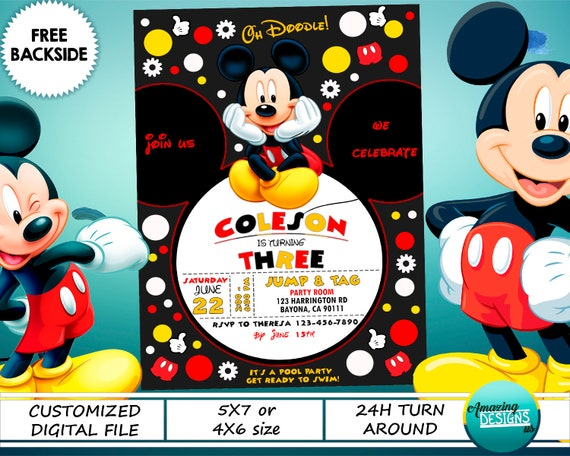 image relating to Mickey Mouse Printable Birthday Invitations referred to as Mickey Mouse Birthday Invitation, Mickey Bash Invite, Disney Custom made Electronic Printable Card, Free of charge Bottom