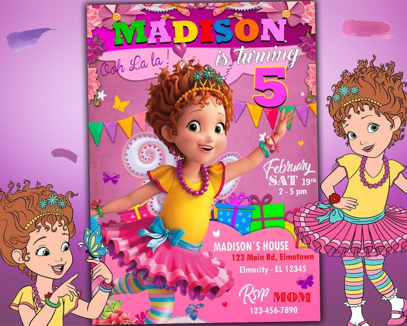Fancy Nancy Invitation Girl For Birthday Party Disney Invite Custom Digital Printable Card Free Backside