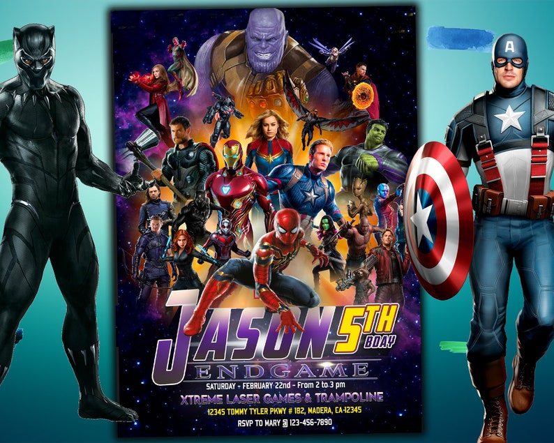 Avengers Endgame Invitation For Birthday Party Iron Man Invite Spider Man Digital Printable Card Captain America Free Backside