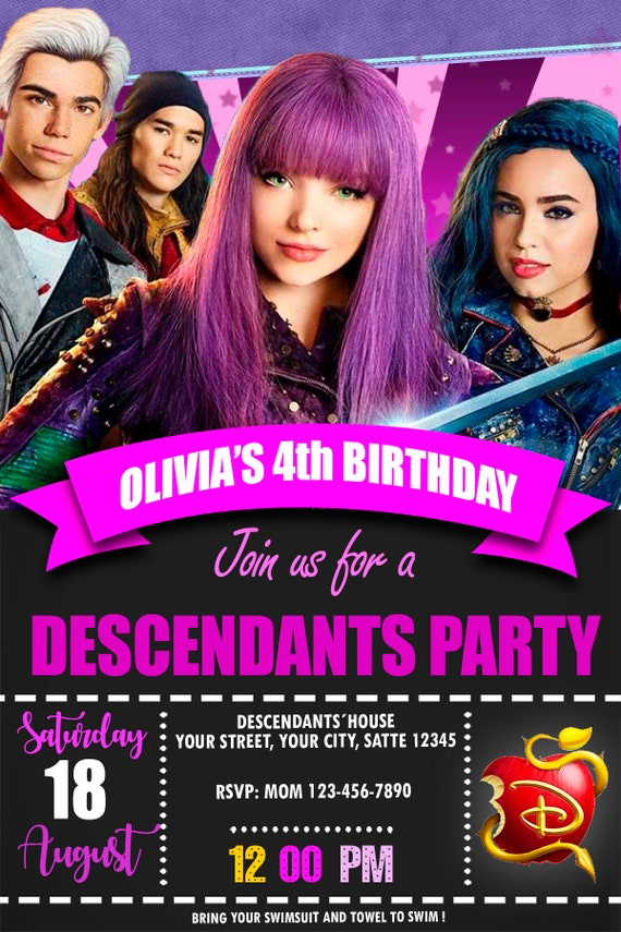 Descendants 2 Birthday Invitation Mal Party Invite Custom