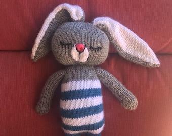 Sleepy Bunny Doll, Knitted Animal