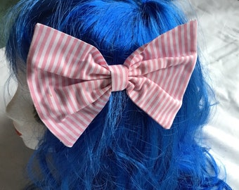 Pink and white striped cotton hair bow medium size