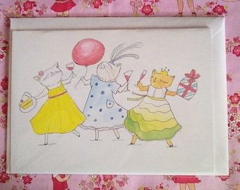 Party Cats. Greetings card. A5 Blank. Birthday Theme