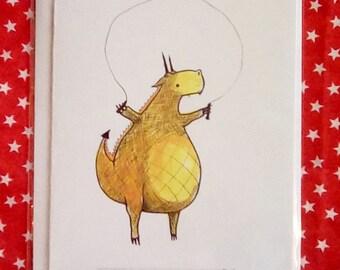 Remy Dragon Skipping Card. Blank A5