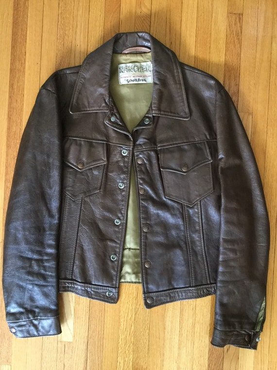 Vintage 1970s Schott Bros. Rancher Brown Leather J
