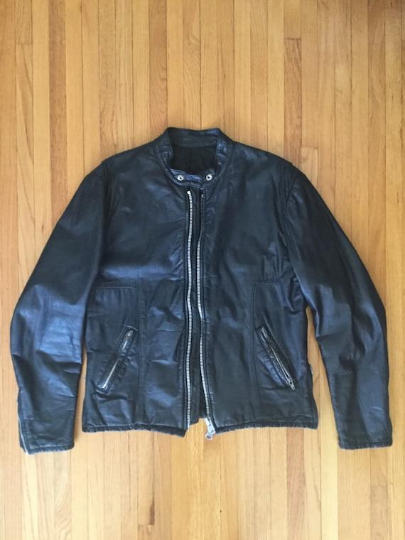 Vintage 1970s Black Leather Cafe Racer Jacket YKK
