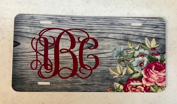 Monogram Seashell License Plate Car Tag New Teal Coral Beach Monogram Car Tag